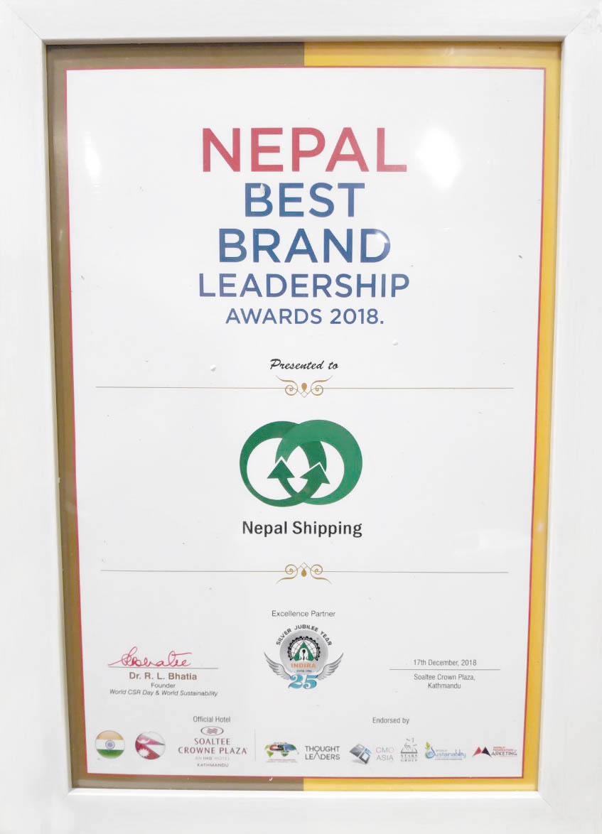 NEPAL BEST BRAND CERTIFICATE issued by CMO ASIA